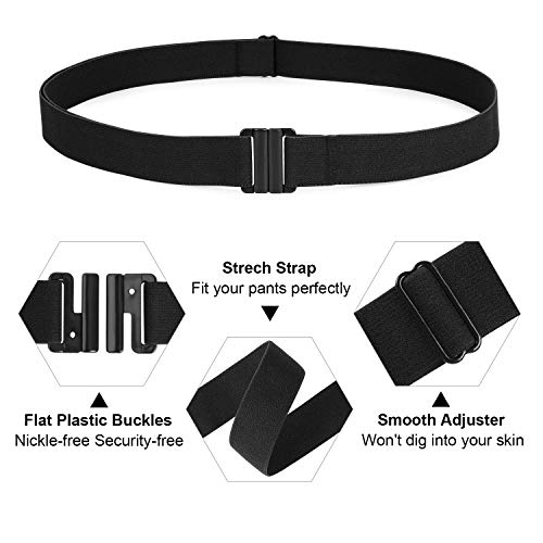 No Show Invisible Fashion Belt for Jeans for Pants for Dresses Flat Buckle Skinny Stretch Elastic Web Belt for Women Ladies No Bulge Invisible Adjustable Casual Waist Belt,Black,Suit USA Size 0-16