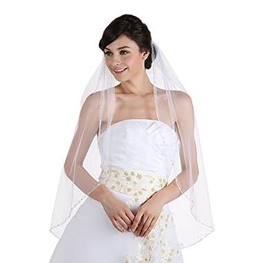 1T 1 Tier Hand Sewn Pearl Beaded Edge Wedding Veil - ivory Fingertip Length 36  V320