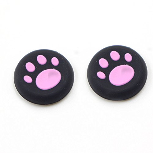 Silicone Thumb Grip Cap Cover Thumbstick Joystick for Sony PS3 PS4 PS2 Xbox One Xbox 360 XBox One X S PS4 Pro Slim Cat Print (2 PCS Pink)