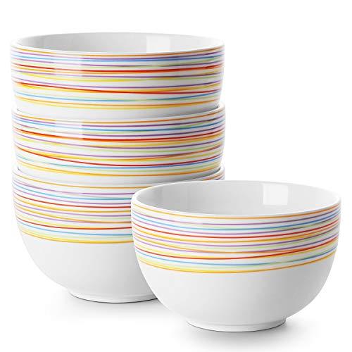 - DOWAN Porcelain Bowls, 30 Oz Porcelain Bowl for Cereal, Soup, Ramen, Rice Bowls, Bowl Set of 4, Rainbow Bowls