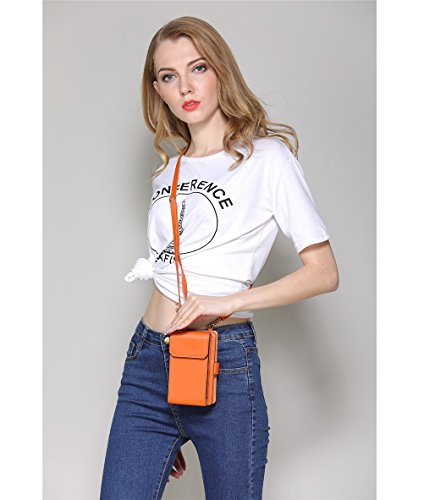 Body Pouch Phone Synthetic Vogue Bag Mobile Multi Wallet Purse Function Leather Clutch Holder Forefront Women's Cross Card Orange Bag qxTnwt4T