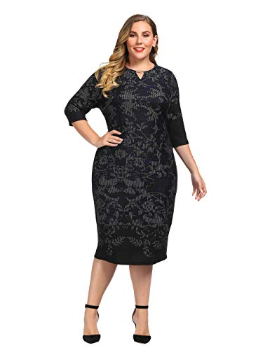 Womens Dress Cashmere (Chicwe Women's Plus Size Cashmere Touch Shift Dress with Keyhole Neck and Metal Trim - Knee Length Casual and Work Dress 1X Navy)