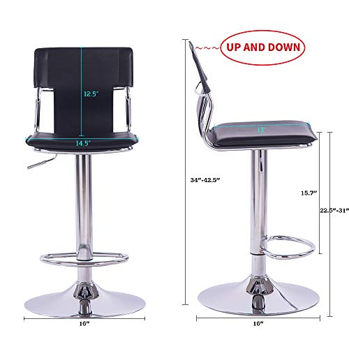Sidanli Black Swivel Bar Stool, Counter Height Bar Stools with Back Set of 2