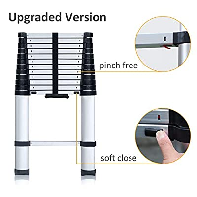 [One Push Closed] Aluminum Telescoping Ladder 12.5 ft, Max Reach 16 ft, 330 lb Max Capacity, Soft-Close System, Pinch-Free Locking for Industrial Household Daily or Emergency Use
