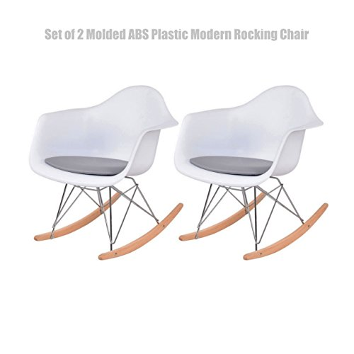 Modern Rocking Chair Rocker Shell Arm Chair Heavy Duty Molded ABS Plastic Durable PU Cushion Seat - Set of 2 White #1455 (Hull Garden Shops Furniture)