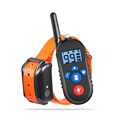 Dog Training Collar, Rechargeable Collar with Remote 2500ft Range with Beep Vibra LED Light, Waterproof IPX7 Electric Dog Collar for Medium Large Dogs
