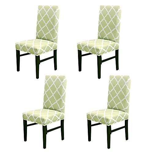 Dining Room Chair Covers, Removable Short Stretch Washable Chair Protector Slipcovers for Banquet, Kitchen, Hotel, Party, Ceremony, Wedding (Set of 4, Grass Green)