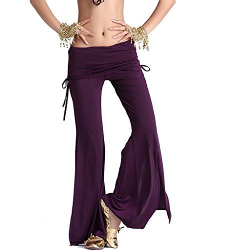 ZLTdream Women's Belly Dance Slit Pants Milk Silk (Belly Dance Pants)