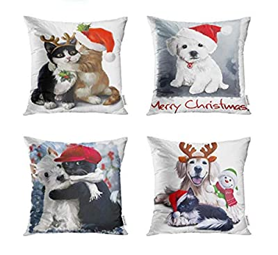 Semtomn Set of 4 Throw Pillow Covers 18x18 InchWatercolor Animal Red and Black Kittens in Carnival Costumes Home Decor Cushion Covers Square Pillowcases for Sofa Bed