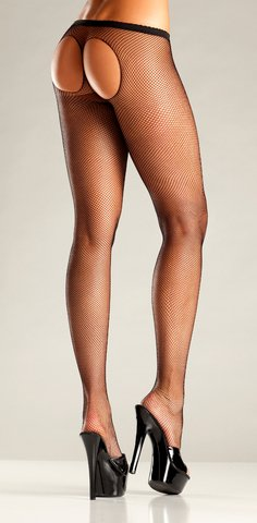 Be Wicked Women's Sheer Thong Back Fishnet Tights, Black, One Size (Sheer Thong Back Pantyhose)