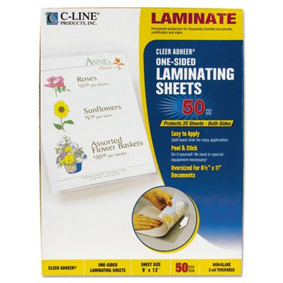 - C-Line : Cleer Adheer Nonglare Laminating Film, 2mm, 9 x 12, 50 per Box -:- Sold as 1 BX