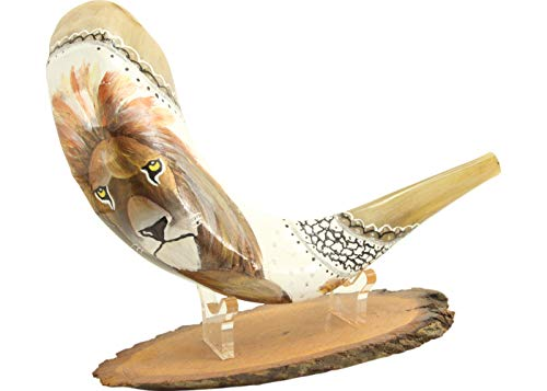 Hand Painted Ram Horn Shofar With Lion Of Judah Design + Wooden Stand With Lucite Support - Professionally Tuned and Tested Shiped from Israel