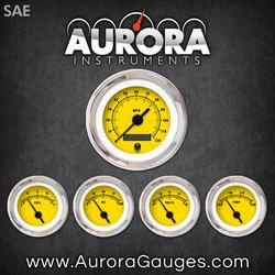 Aurora Instruments 1481 Rider Yellow SAE 5-Gauge Set Black Vintage Needles, Chrome Trim Rings, Style Kit Installed