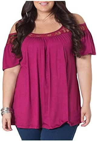CutyKids Womens Plus Size Off Shoulder Lace Tops Blouse Short Sleeve Tees Shirts