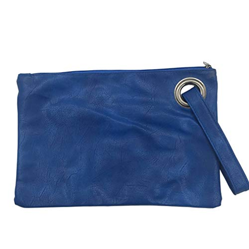 Evening Blue Leather Female Women Bag Fashion Handbag Bag Clutch Bag Solid Women's Clutch Envelope Clutches Tx6WB6qz4n