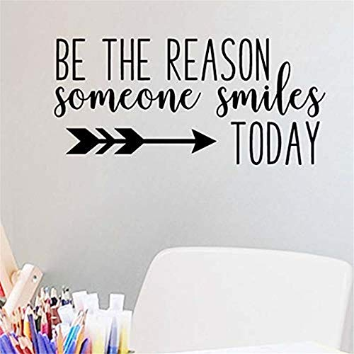 Miusy Be The Reason Someone Smiles Today - Inspirational Wall Decal Motivational Wall Art Quote Positive Home Office School Classroom Decor Vinyl Decoration Encouragement GIF 36x6 Inches