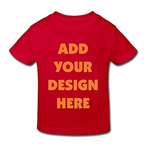 Unisex-Child Custom Personalized T-shirt, Front Text Toddler gift for Kids (Red - 5-6 Toddler ) - Personalized Free Toddler Tee