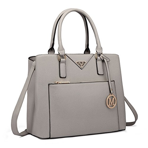 L Two Lulu Compartments Designer 6611 Handbag Women Leather Tote Miss Grey Shoulder With Faux Bag OqUdwxxvP