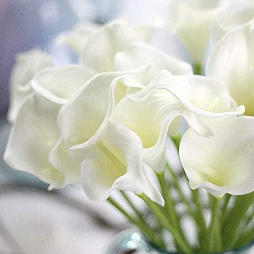 yodaliy Artificial Flower 10pcs Mini Fake Calla Lily Wedding Decoration Eco Friendly DIY Floral Elegant Plastic Bridal Portable Bouquet Home Lifelike Lightweight