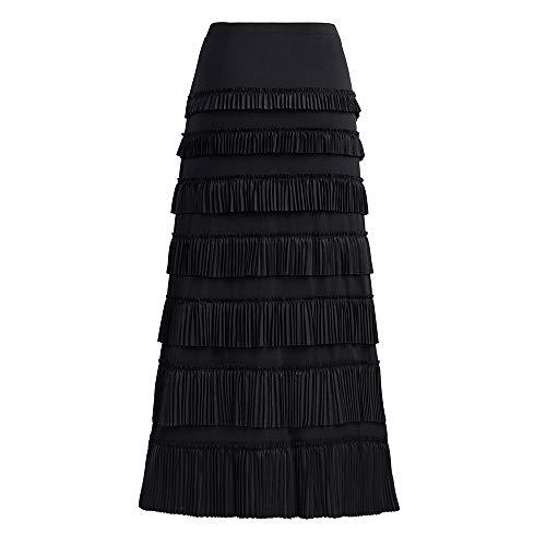 (GATHY Women's 7 Tiered Pleated Ruffles Maxi Skirt (X-Large, Black))