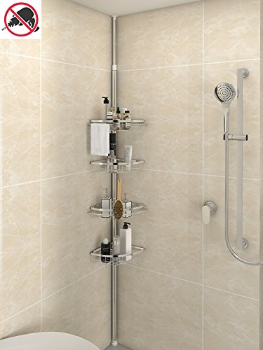 Lifewit Corner Shower Caddy 4 Tier Adjustable Bathroom Constant Tension Corner Pole Caddy Free Standing Shower Organizer Shampoo,Soap,No Drilling ()
