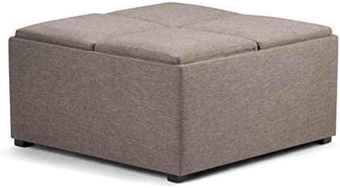 SIMPLIHOME Avalon 35 inch Wide Square Coffee Table Lift Top Storage Ottoman