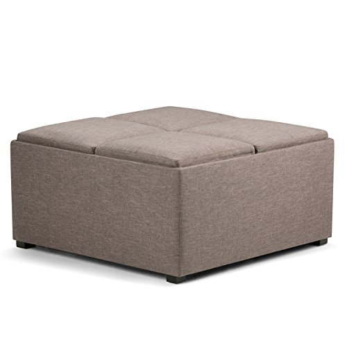 Simpli Home AXCF18-BRL Avalon 48 inch Wide Contemporary Storage Ottoman in Fawn Brown Linen Look Fabric ()