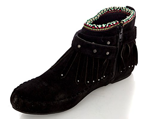 Moccasin Ankle Bootie Fringe Albert Women's Black Charles tqw6PBna