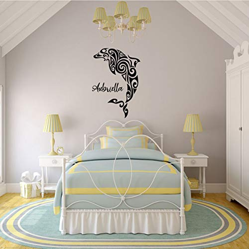 Personalized Dolphin Wall Decal – Vinyl Dolphin Silhouette – Boys and Girls Bedrooms - Ocean Themed decor