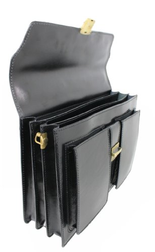 Leatherworld Ital. Leder Aktentasche NERO 01295