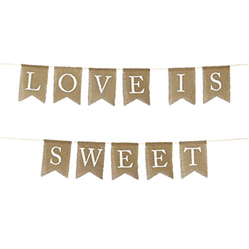 Andaz Press Real Burlap Fabric Pennant Hanging Banner Love is Sweet, Pre-Strung, No Assembly Required, 1-Set, Wedding Dessert Table Supplies ()