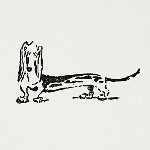 - Antique Print Wiener Dog Art Dachshund Vintage Print Charcoal Black Style with Offwhite Paper Texture Background No.1643 B40 (8x8 Inches)