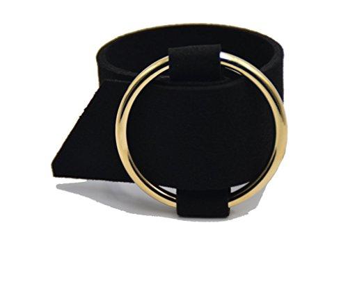 Iconic Buckle Bangle Bracelet Stylish in Leather Like Black Velvet and Yellow Gold