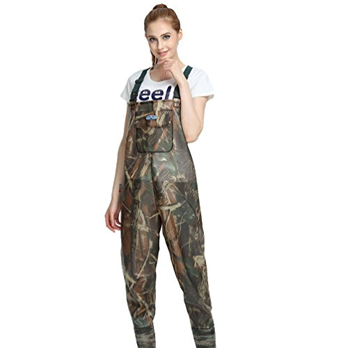 YAANCUN Camo Camouflage Waterproof PVC Fishing Chest Waders with Belt Sizes 5.5-9