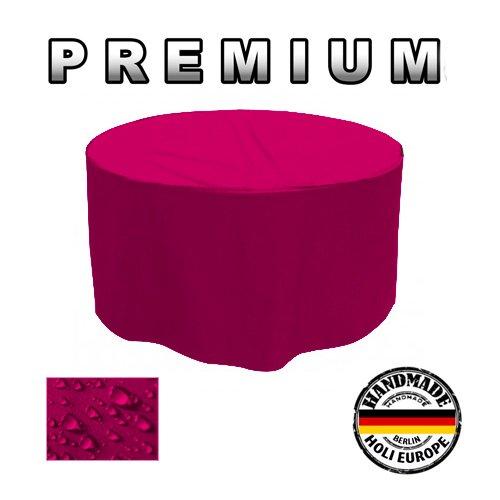 PREMIUM Gartentisch Abdeckung Gartenmöbel Schutzhülle RUND ø 205cm x H 90cm Pink / Rosa