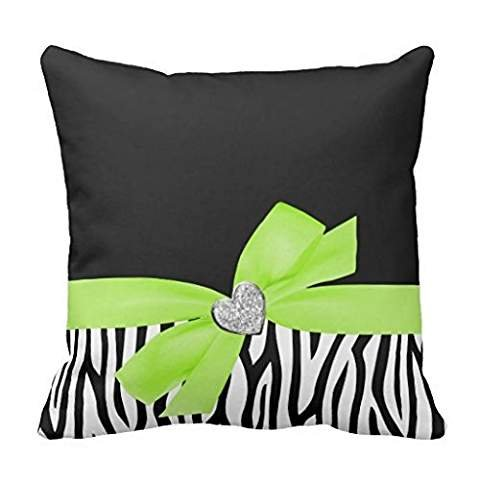 Zebra Lime Green Bow Diamond Heart pillow case 2020
