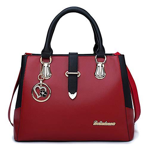 Vino Beige Donna Black Sacchetti Rosso Per PU Red Bottoni FHGJ Tote g0q8ZxBBw