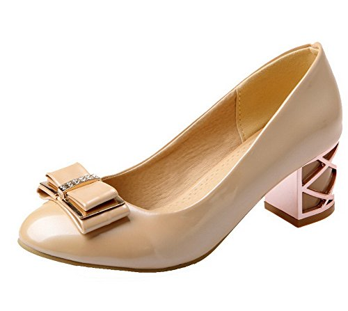 VogueZone009 Women's Round Closed Toe Kitten-Heels Solid Pumps-Shoes Apricot
