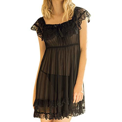 Women's Dress Pajamas Ladies Sleepwear Plus Size Sexy Short Sleeve Lace Satin Vintage Sex Lingerie Underwear Nightwear (S, Black)]()