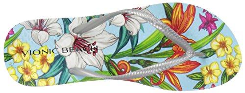 Noosa Floral Blue Light Beach Orchid Flip Women's Vionic Silver Flop qEPSSU