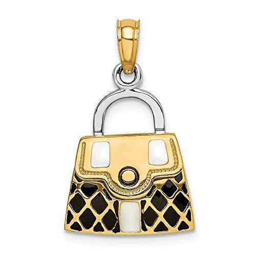 14K Yellow Gold 3-D with Black & White Enamel Moveable Handbag Charm Pendant