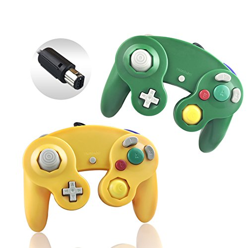 Reiso 2 Packs NGC Controllers Classic Wired Controller for Wii Gamecube(Light Orange and ()