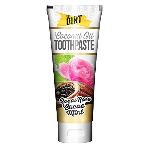 (The Dirt Coconut Oil Toothpaste, All Natural with Essential Oils, MCT Oil, Fluoride Free, Rose Cacao Mint, 2.5oz)