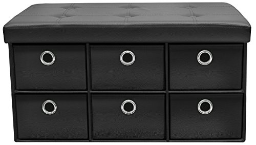 Sorbus Storage Ottoman Bench with Drawers  Collapsible Folding Bench Chest with Cover  Perfect for Entryway, Bedroom, Cubby Drawer Footstool, Contemporary Faux Leather (Black)