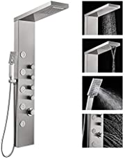 ROVOGO Shower Panel Tower with Rainfall Waterfall Shower Head, 5 Body Jets and 3-Function Handheld Shower, Multi-Function Wall-Mount Shower Column System, Stainless Steel Brushed