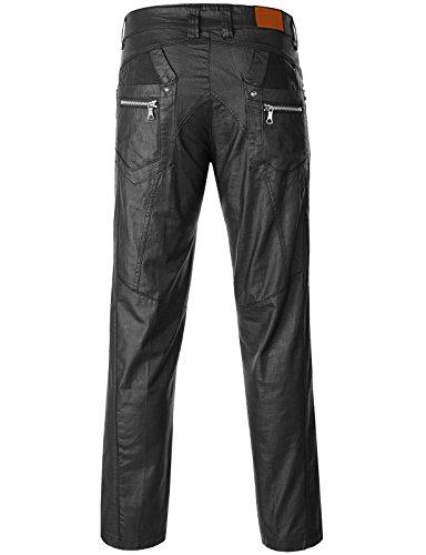 iDarbi Mens Regular Fit Leather Look Wax Printed Biker Pants BLACK 38Wx30L
