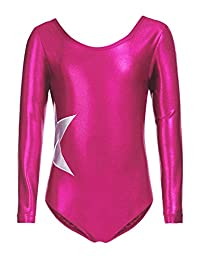 Zaclotre Girl's Long Sleeve Solid Sparkle Leotard Gymnastic Ballet Athletic Clothes