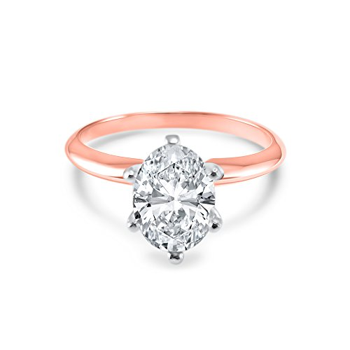 Gold Six Prong (Oval CZ Cubic Zirconia Engagement Ring 6 Prong 1.5 Carat 14K Rose Gold (5.5))