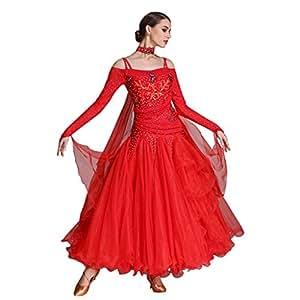 abd45dc136 Vestidos De Competencia Estándar De Baile De Salón para Mujer Vestidos De  Manga Larga