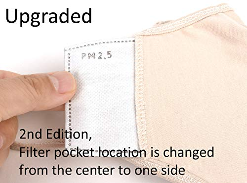 ECOMADE ARERNA Fashion Protective Face Mask Dust Cotton Washable Reusable Mask with Replacement Filter Pocket, Made in Korea